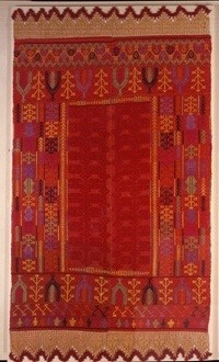 Woven bedspread (patania), spectacularly colourful and technically daring. From the area of Rethymnon, Crete, 19th c. 2.50x1.80 m. Gift of Chrysoula Xanthoudidou-Koundourou. (ΓΕ 29631) image and text copyright Benaki Museum