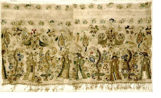Embroidery border. Rare Asia Minor embroidery representing female figures in an idyllic imaginary setting. From Asia Minor, 17th-18th c. 0.69x0.38 m. (ΓΕ 6736)   image and text copyright Benaki Museum