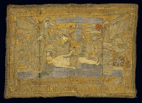 An epitaphios dated 1649 and embroidered with gold thread. A votive offering of one Ioannis Komnenos to the church of St Kyriaki at Molyvos in Mytilini. This otherwise unknown donor, probably an ancestor of the doctor and philosopher Ioannis Komnenos, bears the name of emperors who were members of an important Byzantine dynasty. 0.51x0.81 m. (ΓΕ 9341) image and text copyright Benaki Museum