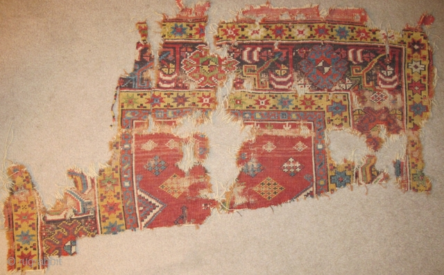 Central Anatolian Prayer Rug Fragment circa 1800 starting@ $150