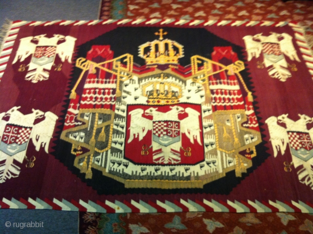 Austrian/Hungarian Emblem.  Priceless collectible from WORLD WAR 1. Gorgeous piece. size 4'10'X6'10""