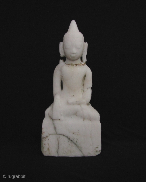 Alabaster Shan Buddha circa 18th century. This has been left out in the sun and rain for the past 10 years so the surface has begun to degrade (a good lesson in  ...