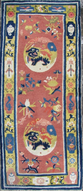 """Special Offer: Ningxia Carpet: Good circa late 19th/early 20th ce, Ningxia Tibetan Buddhist temple runner with two playful female """"foo dogs"""" and pup medallions, representing the nurturing aspect of the Yin principle,  ..."""