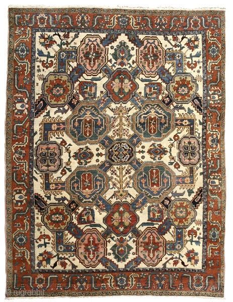 """White Ground Carpet with Shield Palmettes Heriz Northwest Persia circa 1890 310 x 240 cm (10'2"""" x 7' 10"""") symmetrically knotted wool pile on a wool foundation   The carpets from the Heriz area rarely depart from their characteristic  ..."""