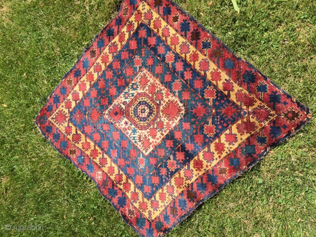 Early Interesting Beshir rug fragment with nice design and offset knotting size 51'x54'