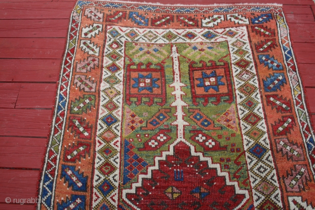 mid 19th century Central anatolian rug areas of restorations great color and design size 4X5'11