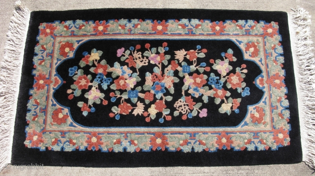 Antique Chinese Art Deco rug, hand knotted wool on cotton, China ca.1930, Fette type, all the splashy colors that collectors want on a black field, very good condition with a near full  ...