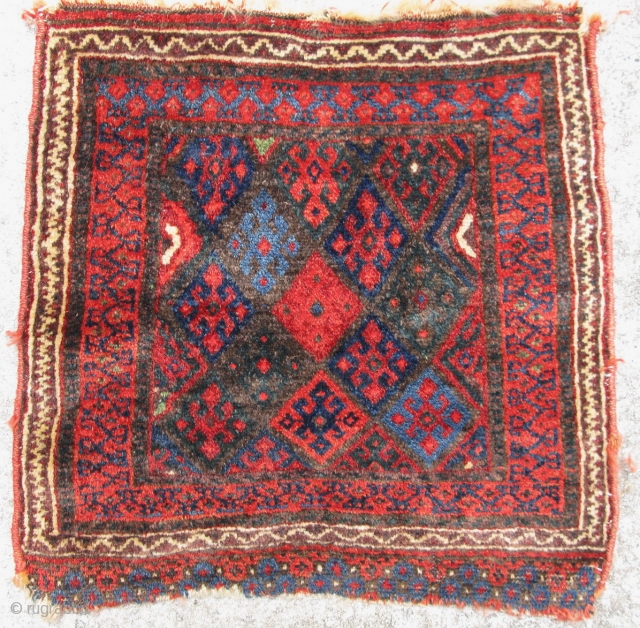 Antique Jaff Kurd bag face, hand knotted wool on a wool foundation, Iran, ca. late 19thC, a beautiful example of Kurdish weaving, finer than most I see, and a great silky wool,  ...