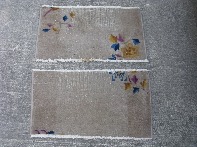 Two antique Art Deco Chinese rugs, hand knotted wool pile on cotton foundation, China ca. 1920's, grey field, purple, blue, worn almost flat, staining, ends and edges are secure, no holes or  ...