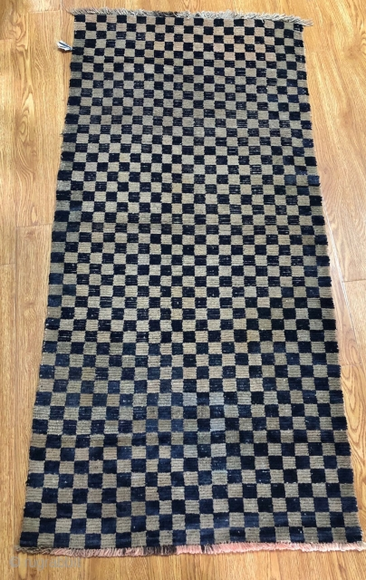 Tibetan rug, 165*85cm. antique handmade , blue with light camle checker board, the condition is good.
