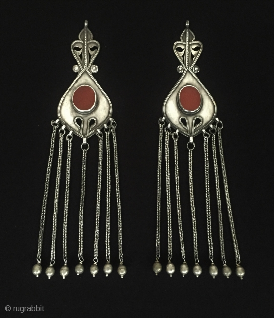 Central-Asia A pair of Turkmen-ersary ethnic tribal silver tassel-pendant with cornalian Excellent condition ! Circa-1900 Size : ''20 cm x 4.5 cm'' - Weight : 69 gr Thank you for visiting my  ...