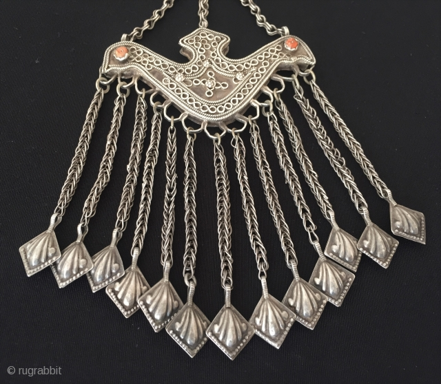 Central-Asia Uzbek ethnic tribal old silver tassel pendant with coral pair size and talismanic design. Circa - 1900 Size - Height with tassel : 18.5 cm - Width : 9 cm -  ...