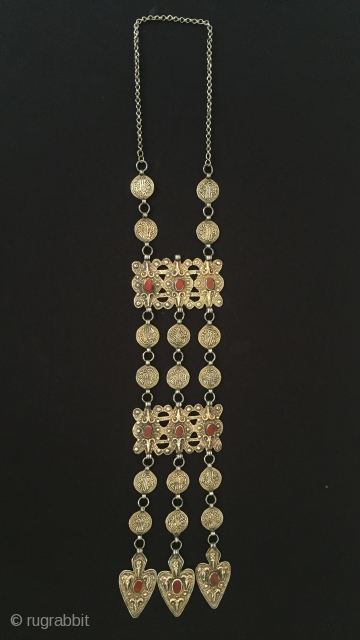 Central-Asia Turkmenistan-Yomud Silver Necklace with cornalian fire gilded original ethnic tribal turkmen jewelry Excellent condition Circa-1900 With-Chain-height : 59 cm - Height : 42 cm - Width : 8.8 cm Weight :153  ...