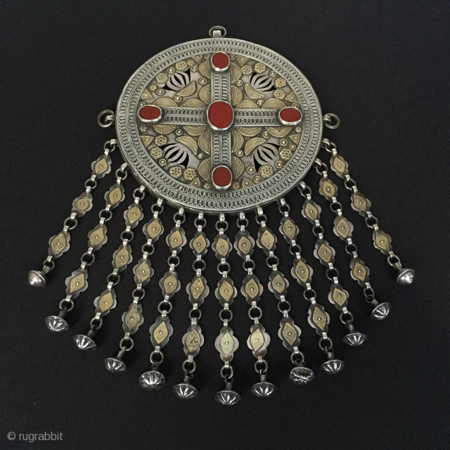 Central-Asia Turkmenistan-Yomud Antique Silver Tribal Necklace with cornalian fire gilded Excellent condition Circa-1900 Size : '25cm x 14cm' Weight : 284gr Thank you for visiting my rugrabbit store !