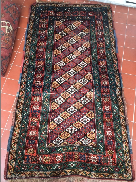 Wool on wool kurdish Beauty. Washed and only natural dyes. Great size: 1,9m x 1m. What a green! Around 1880.