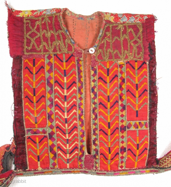 TEX_0045 Afghan Dress Front, Silk and Metal Thread Embroidery on Cotton 11 in x 12.5 in Nice earlier example
