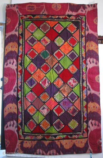 """UZBEK 14 Central Asian Uzbek """"Korak"""" Patchwork, 87 x 55 inches"""