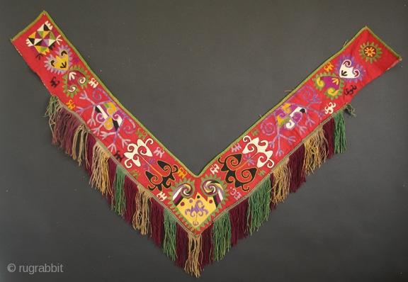 "Uzbek 27 Central Asian Uzbek Embroidery ""Segusha"", Silk Embroidery on Cotton, 47 inches wide    $75.00"
