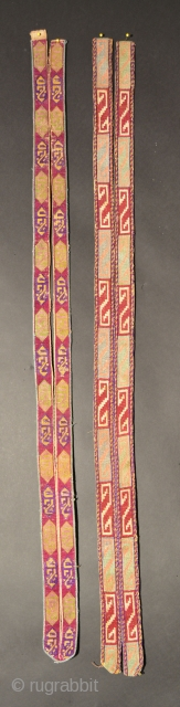 Central Asian Collar Trims, Silk/Cotton, Late 19th/Early 20th Century, Piece on left is 42 x 2.2 inches