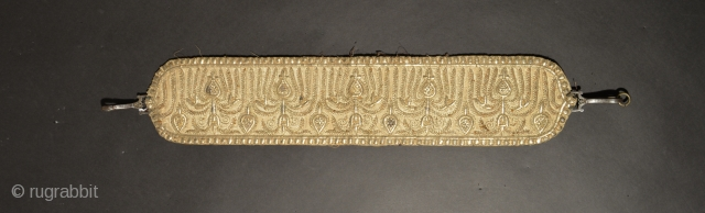 Central Asian Embroidered Head Band, Metal thread, Cotton, Remains of Silk Backing, Iron Clasps, 4.3 x 25.6