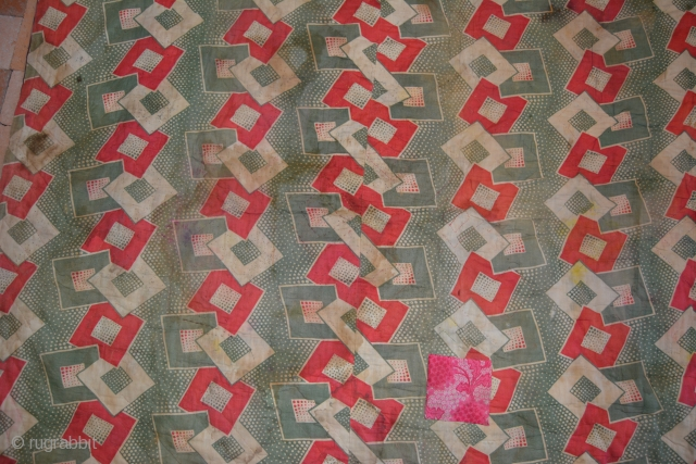 """Central Asian Patchwork """"Korak"""", c1930s, Russian """"Constructivist"""" style print cotton backing.  Backing has stains and damage but is unusual to see on a Central Asian textile.  85 x 52 inches  ..."""