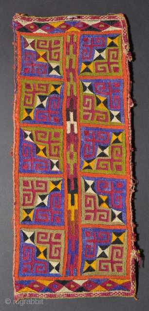 TR 113 Turkmen Embroidered Bag,Silk/Cotton, Early 20th Century, 12.2 x 5 inches The side bindings have been cut so the bag is not folded in half on its horizontal axis.