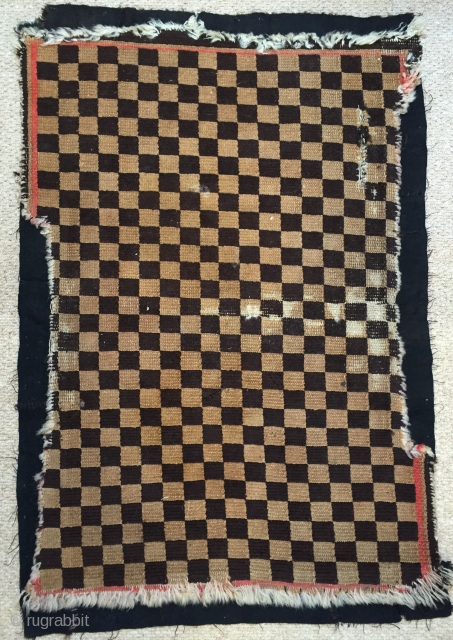 Nice genuine antique Tibetan chequerboard rug early 20 c.