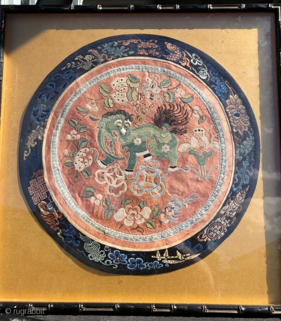 Nice antique Chinese embroidery with green  dog of Fo. 36 cm diameter framed and glazed good condition late 19 c I reckon.