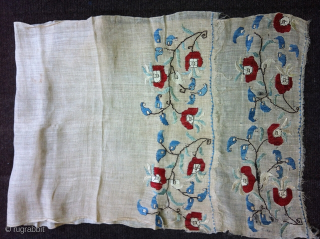complete 18C Turkish Ottoman towel size 110 x 42 cm. Finely embroidered silk on cotton gauze in the naturalistic style. Slit and small holes at one end and small holes and damage  ...