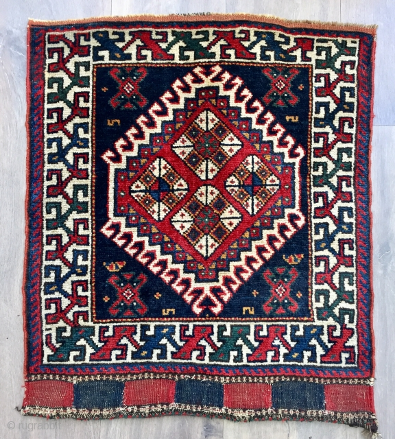 Antique Luri bag face ca1900 size 64 x 56 cm. rare border