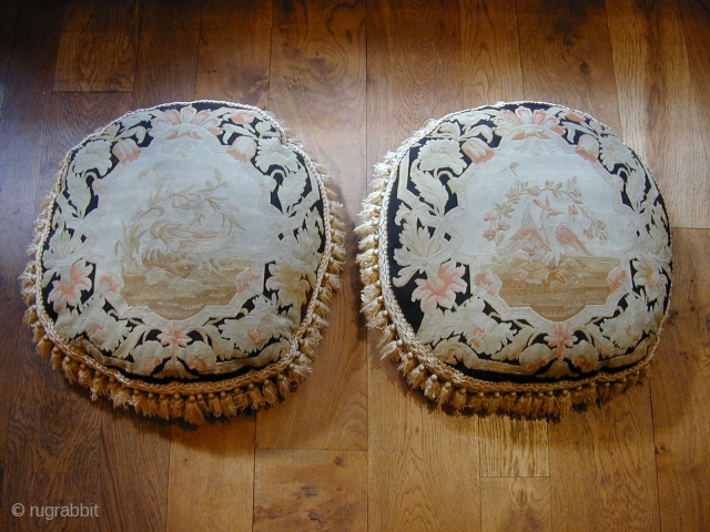 super pair of 19C French Aubusson tapestry cushions approx 2 ft wide each.