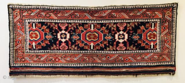 Super mid 19 c Kurdish piled  mafrash panel  Great colours including lots of aubergine size 115 x 50 cm