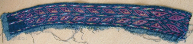 fragment of antique 19 C Tekke collar from a Chirpy size 56 cm x 7  cm. Very fine silk embroidery on dark green (chiefs colour ) cotton ground, applied to what seems  ...