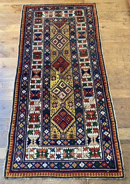 Antique shirvan good old one ca 1880 or bit  earlier. Nice purple and camel hair in pile all wool foundation unusual size 222 x 110 cm just washed. 