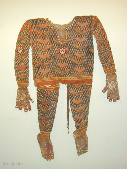 Kuba ceremonial dancing costume , bark fibre and organic pigments
