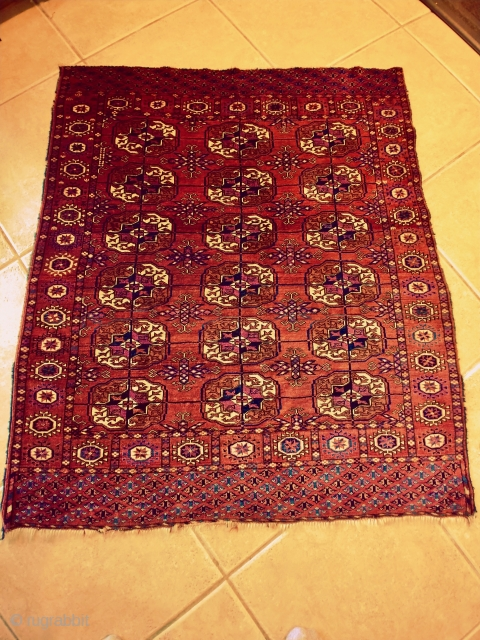 Tekke Turkoman Wedding Dowry Rug, nice condition, it measures approximately 3.6 x 4 feet. This piece is so very finely woven with soft wool that it handles like velvet. It has wool  ...