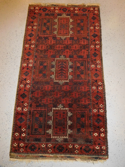 True 19th century Baluch, Timuri or Yaqub Khani tribal design. Extra fine quality, exceptional design and layout, and done with great execution. 41 inches x 77inches or 104 cm x 195.5 cm.  ...