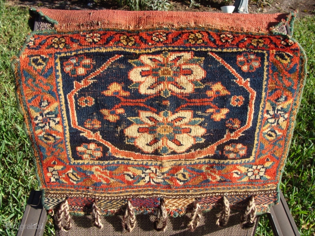 Afshar Bagface with rosettes. Beautiful rich colors! It has its original back flap. The face measures 16 by 21 inches.