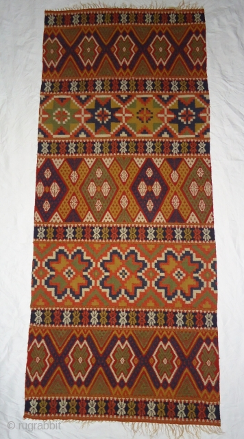 Handmade swedish Killim runner. Size. 2 by 5 feet. Excellent condition.