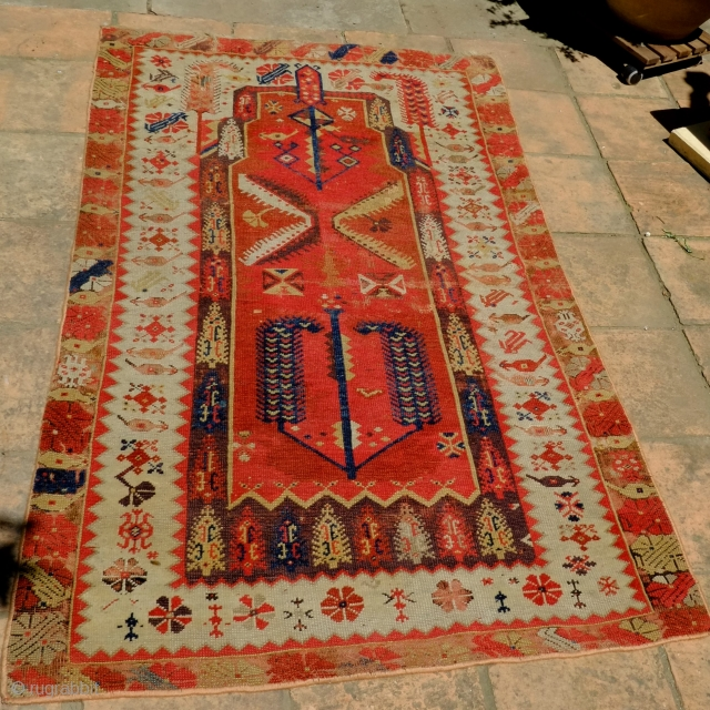 A Melas 'Mejideh' Prayer Rug from the second half of the 19th century