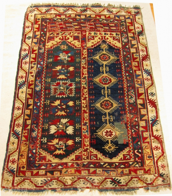 Mid-19th Century Makri/Megri two panel rug size 198cm x 135cm.
