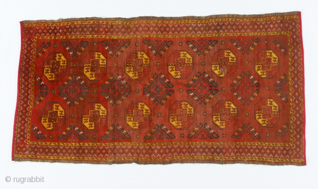Karakalpak or Uzbek main carpet, Central Asia, Western Turkestan, The Aral Sea area, late 19th century, L. 260 cm; W. 134 cm, large tauk nuska guls, all natural dyes, few small holes,  ...