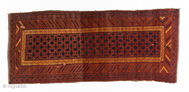 Kyrgyz gylam (main carpet), Batken area, 1920's, 380 by 140 cm, in a very good condition, few scattered minimal reweaving.
