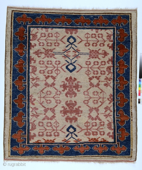 Kyrgyz wedding carpet, Aksu area, Chinese Turkestan, c.1850, weft and warps are wool, 124 x 105 cm. Unique piece.
