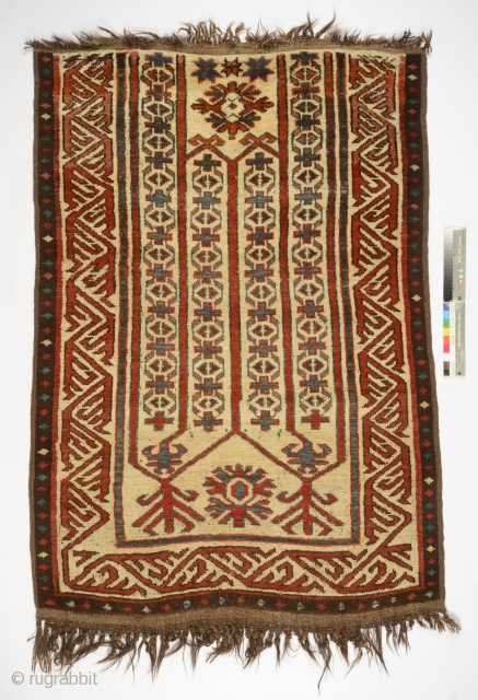 Kyrgyz Eshik Tysh (Entrance Door Carpet), Kyrgyzstan, Alai area, late 19th century, wool, natural dyes, L.150 cm; W.106 cm. Published: Arts from the Land of Timur. An Exhibition from a Scottish Private  ...