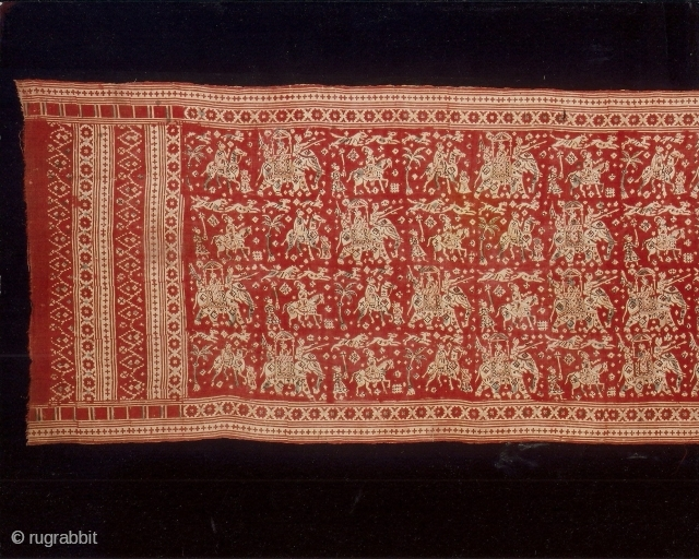Indian trade textiles 003, (422cm x 94cm – 166in x 37in), heirloom textile, Gujarat 18th century, traded to eastern Indonesia, cotton - block printed, resist and mordant dyed, condition very good. Price  ...