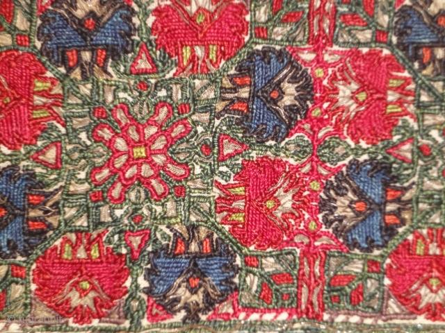 A Cretan embroidery fragment. 19th century. Silk and metal thread on linen. Cm 45 x 38.