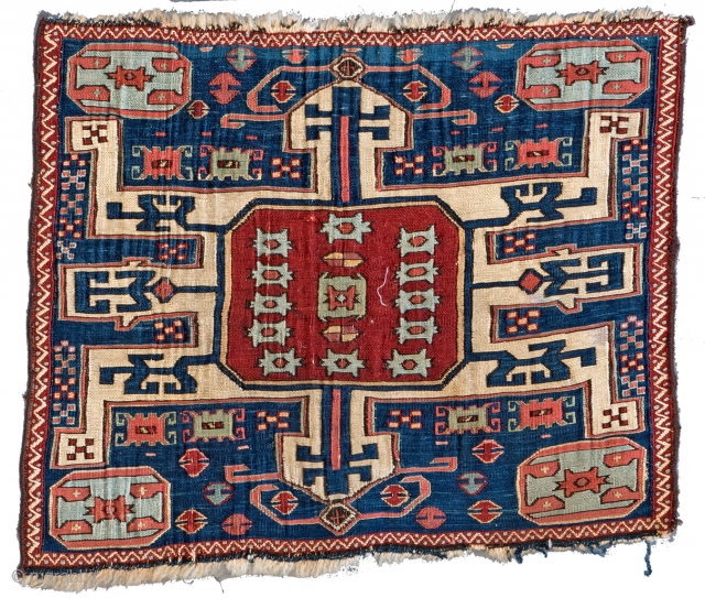 Lot 150, SHASAVAN SUMAKH BAG FACE 40 x 50 cm (1ft. 4in. x 1ft. 7in.) Azerbaijan, mid-19th century, Auction April 22nd, 4pm, https://new.liveauctioneers.com/item/52104306_shasavan-sumakh-bag-face-40-x-50-cm-1ft-4in-x-1ft