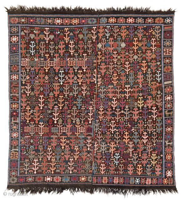 Lot 228, VERNEH 180 x 170 cm (5ft. 11in. x 5ft. 7in.) Azerbaijan, second half 19th century, Auction April 22nd, 4pm, https://new.liveauctioneers.com/item/52104384_verneh-180-x-170-cm-5ft-11in-x-5ft-7in