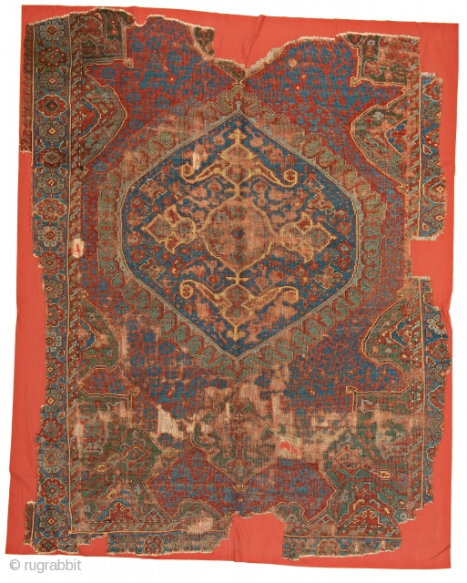 Medallion Ushak Carpet Fragment, 270 x 221 cm (8 ft. 10 in. x 7 ft. 3 in.), Turkey, early 18th century, Starting bid € 600, Auction May 18th at 4pm, https://www.liveauctioneers.com/item/71360074_medallion-ushak-carpet-fragment